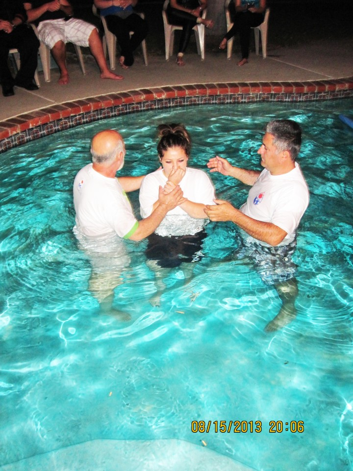 Sister Luso being Baptised
