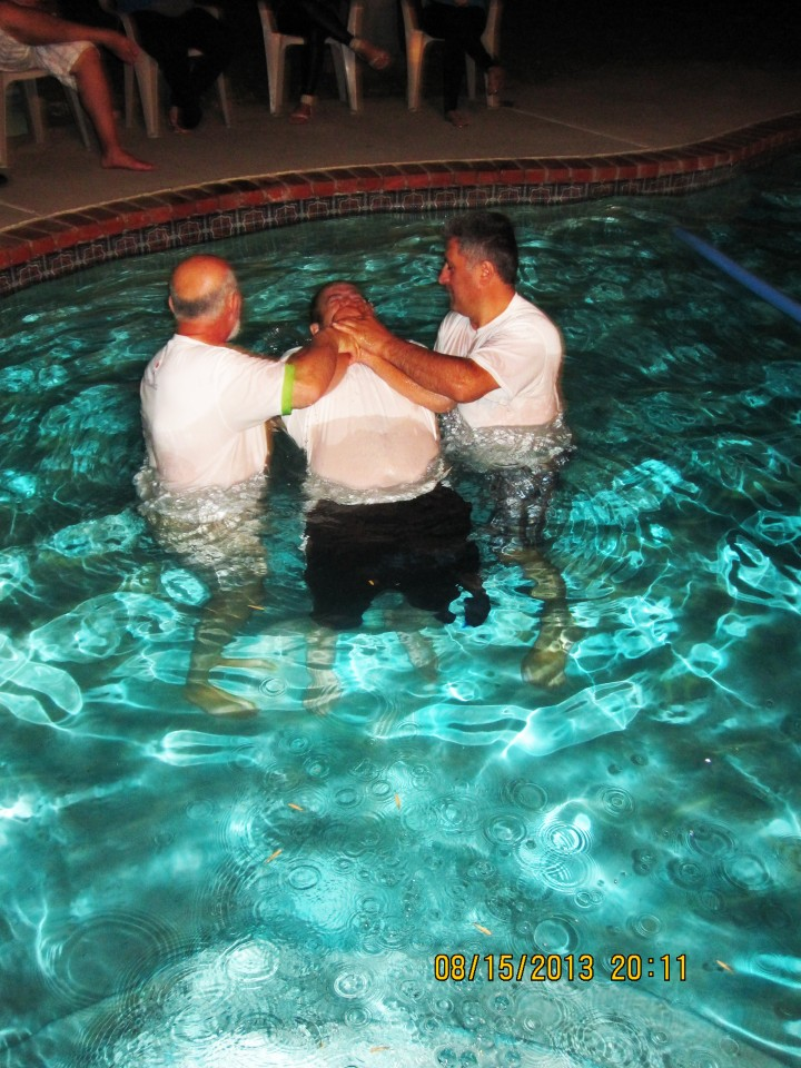Brother in Christ getting Baptised