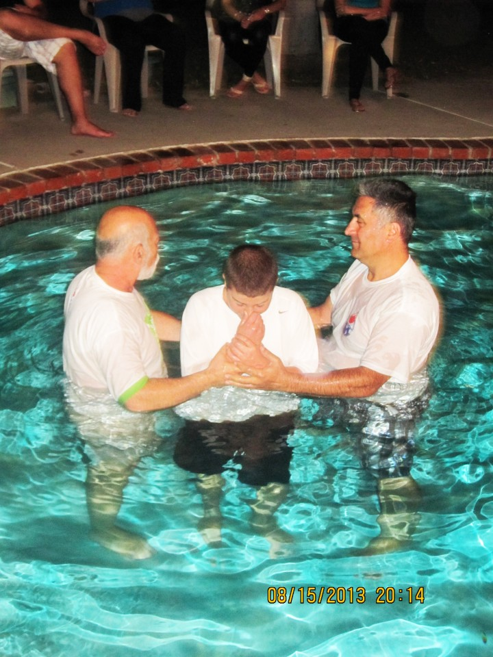 Brother Harout being Baptised